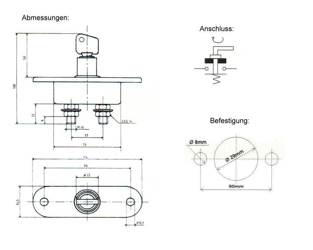 Batterie-Hauptschalter 24V / 100A / 500A mit Schlüsselschalter