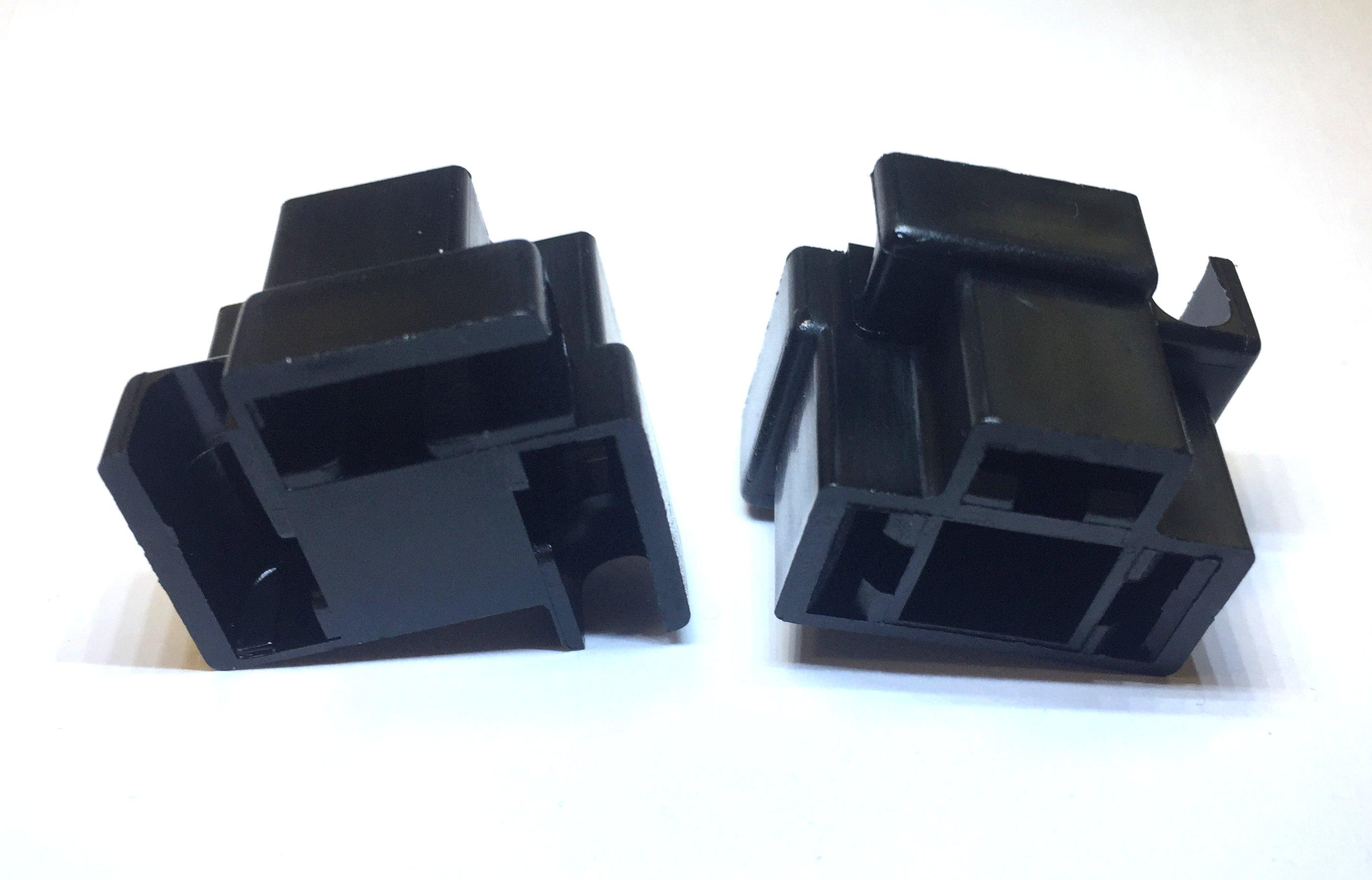 3-way lampholder, black, 2 pcs.
