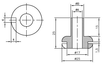 Durchführungstülle mit Hals 10,5mm, 2 Stück