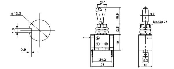 Kippschalter LED weiß 12V / 20A