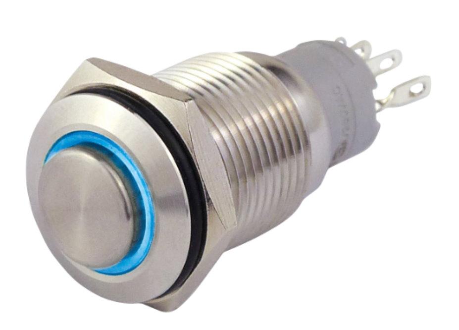 Druckschalter in A2  12V / 3A mit blauer Ringbeleuchtung