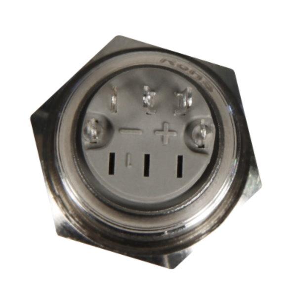 Druckschalter in A2  12V / 3A mit roter Ringbeleuchtung