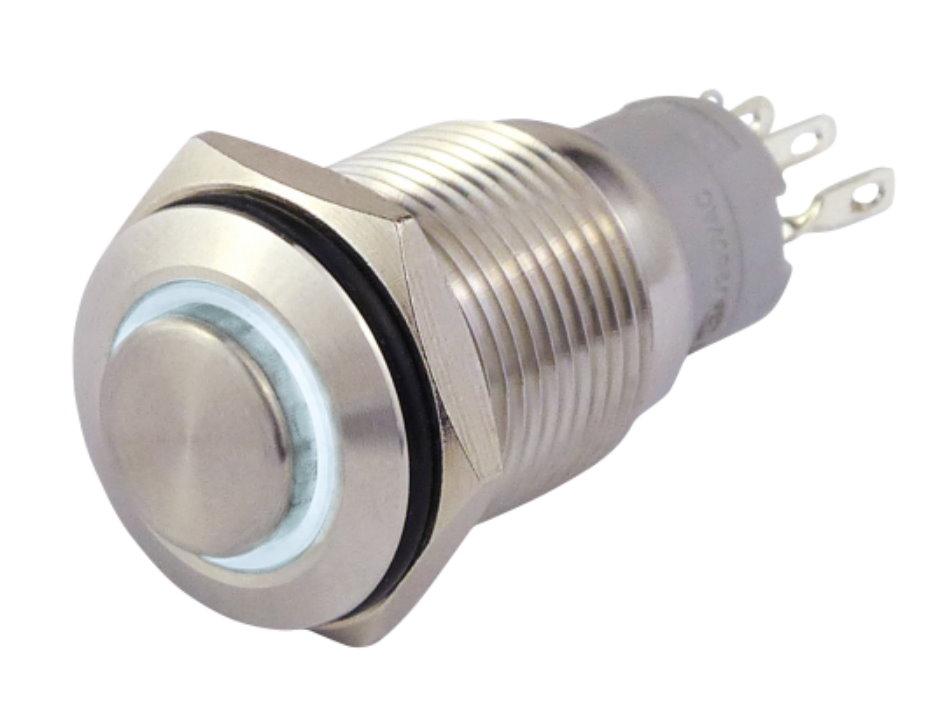 Druckschalter in A2  12V / 3A mit weißer Ringbeleuchtung