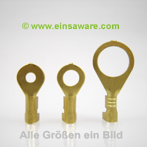 Ringkabelschuhe offen -2,5mm² Messing,  6,3 / 9,5mm, 20 Stück