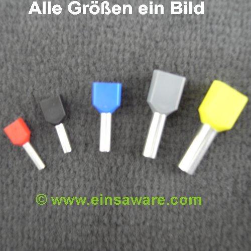 Doppel-Aderendhülsen 2x6,0mm² gelb isoliert 100 Stück
