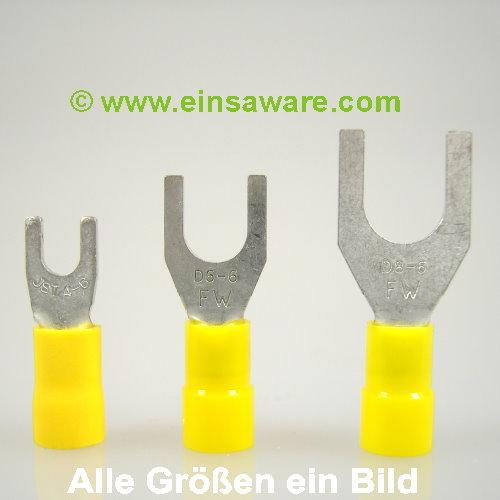 Gabelkabelschuhe -6,0mm² gelb isoliert
