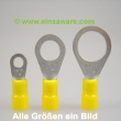 Ringkabelschuhe -6,0mm² gelb isoliert